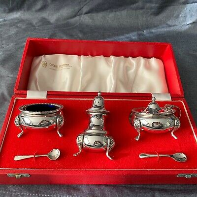 Cooper Brothers Silver Plated condiment set in original display box