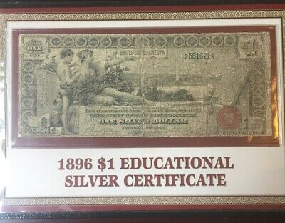 1896 $1 EDUCATIONAL Silver Certificate!  Informative display from PCS Coins!