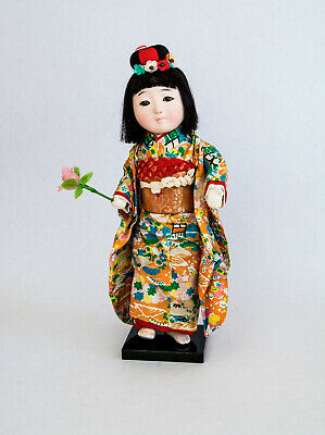 """RARE VINTAGE ICHIMATSU TRADITIONAL JOINTED JAPANESE DOLL GLASS EYES 13"""" 32CMs"""