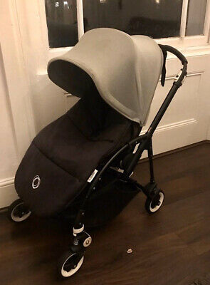 Bugaboo Bee 3 - Black Frame - Black Fabric - Grey Hood - Includes Black Footmuff