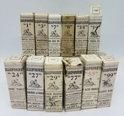 Lot 12 Humphreys Homeopathic Medicine Bottles Complete in Boxes Antique Quack NR