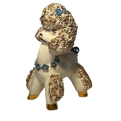 White Spaghetti Poodle Blue Eyes Floral Collar And Bows Gold Accents Vintage