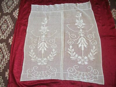 Vintage Lace Curtain Panelling --- HANDMADE Crochet Rustic Cafe Curtain Drapery