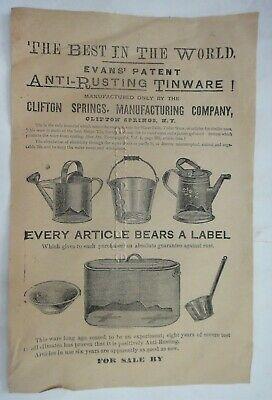 antique victorian CLIFTON SPRINGS MFG. ny TINWARE BROADSIDE evans' patent AD