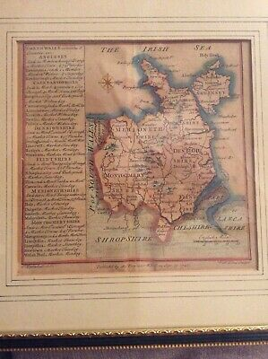 Antique map, North Wales, T Badeslade Delin, W H Toms, 1742, Coloured.