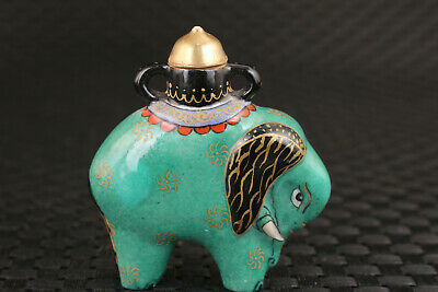 Chinese old porcelain hand painting elephant statue snuff bottle unique
