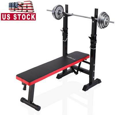 Adjustable Folding Weight Lifting Flat Incline Bench for Full-Body Workout