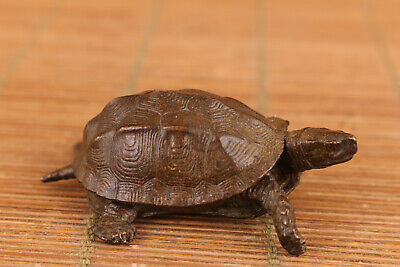 chinese old red bronze hand casrved turtle statue collectable netsuke