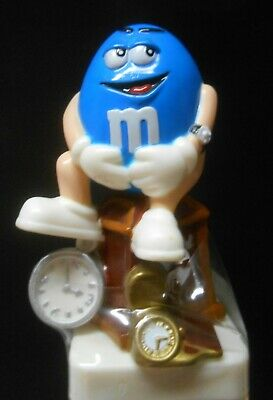 M&M's Candy BLUE Timekeeper Watchman Topper Collectible Figure Tube European