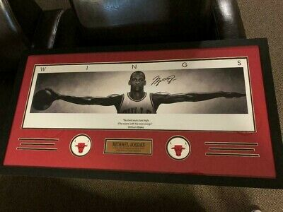 MICHAEL JORDAN  Wings lithograph  AUTOGRAPHED Chicago Bulls  Newly Framed Poster