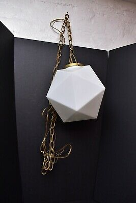 "Vtg White Swag Light Pendant Geometric Diamond Glass Globe 13"" MCM Modern"