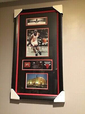 MICHAEL JORDAN PICTURE, Small WINGS,ChicagoStadium, 2 Patches Red Black FRAMED!