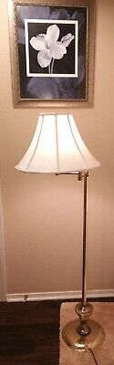 "53"" Vintage  Swivel Brass Floor Lamp W/ Shade"