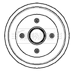 FORD ORION Mk3 1.3 Brake Drum Rear 90 to 93 With ABS 203mm B&B 6492328 6560028