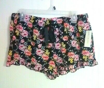 Bobbie Brooks Woman's Sleep Shorts - Black with Floral Print - Size: S