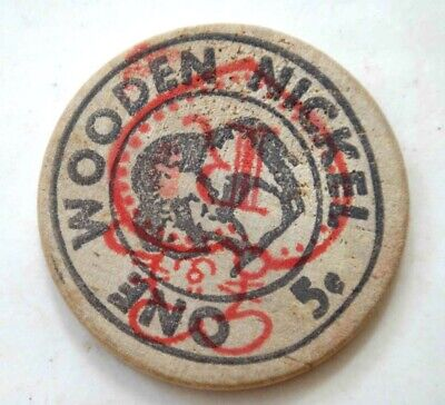 vintage WOODEN NICKEL from BUNNYS rt.41 AVONDALE PA advertising