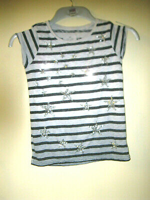 Girls aged 9 years grey black striped short sleeved casual T shirt Next