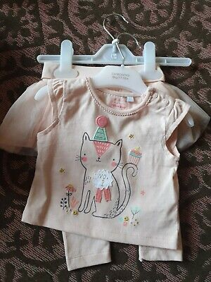 BNWT Bluezoo Adorable Kitty T Shirt Top And Leggings 3-6mnths