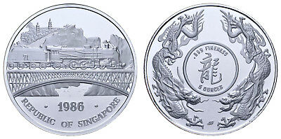 SINGAPORE 5Oz + 1Oz SILVER PROOF 1986 LOCOMOTIVE BRIDGE RAILROAD DOUBLE DRAGON