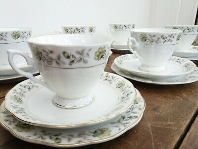 Vintage China 18 Piece Green Floral Tea Set Made In China