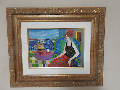 "2006 ""Evening at the Harbor"" by Itzchak Tarkay on Canvas"