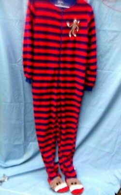 Nick and Nora footie Pajamas Medium Sock Monkey Red Blue striped zipper front