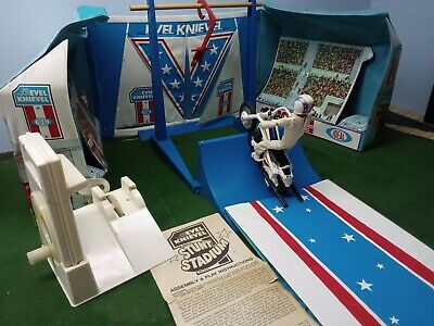 Vintage 70s Ideal Evel Knievel Stunt Cycle and COMPLETE STADIUM