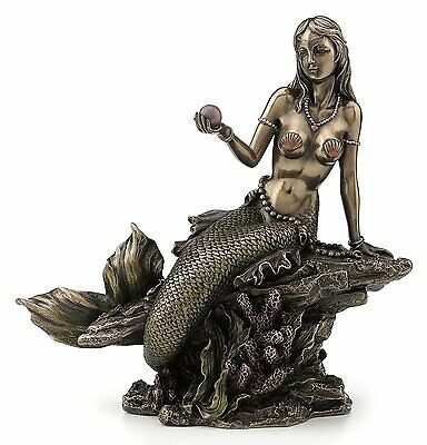 Mermaid Holding Pearl Sculpture Figurine Statue Nautical UNIQUE FATHERS DAY GIFT