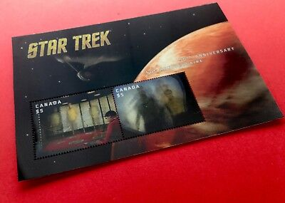 2016 Canada Star Trek Lenticular - Pair of $5 Stamp - $10 FV Total - Free Ship