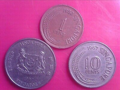 Singapore  1  Cent    1980     10  Cents    1967       20  Cents   1997    May30