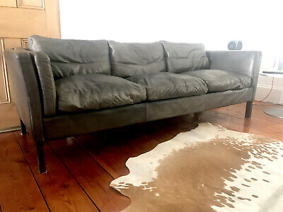 Vintage Danish Grey Leather Mobler Style 3 Seater Sofa - Rare Colour