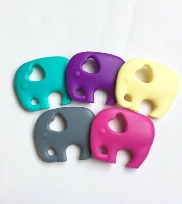 LOT 5 Elephant Baby Teether Food Grade Silicone Soother Chewable Teething Toy