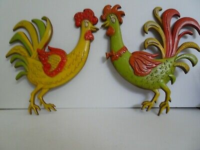 Pair of Vintage 1967 Sexton Metal Roosters/Hens Wall Art Kitchen Decor