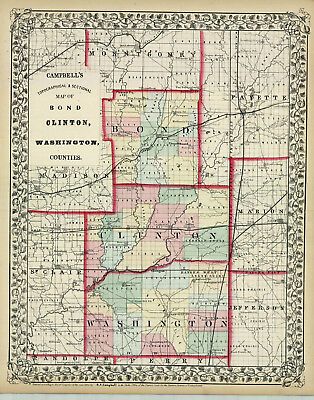1870 Campbell and Wallings Topographical & Sectional County Map: Bond ,Clinton..