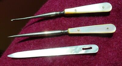 Mother Of Pearl Antique Sewing Tools, Stiletto/Point, Crochet Hook And Bodkin