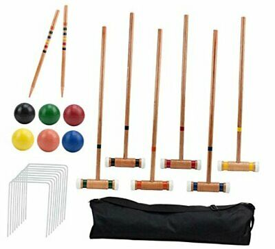 Six-Player Deluxe Croquet Set with Wooden Mallets, Colored Balls, & Sturdy
