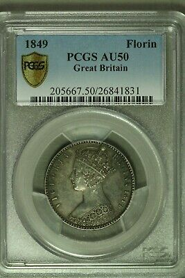 Great Britain 1849 Godless Florin  PCGS AU50