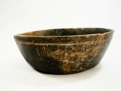 Pre-Columbian Mayan Blackware Terracotta Bowl with flared walls incised Lines