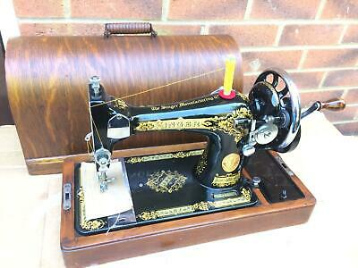 Vintage Singer 28, 28K handcrank sewing machine with bentwood case For LEATHER