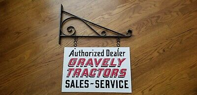 Vintage Gravely Tractor Dealership Sign Double Sided Porcelain With Bracket