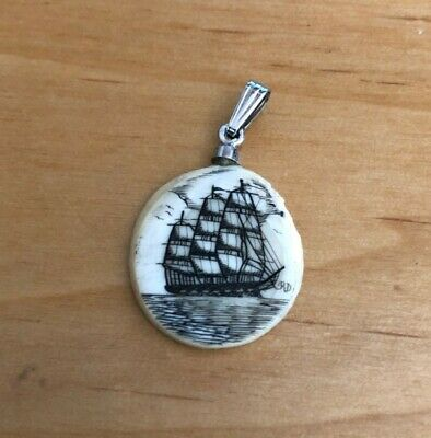 ORIG SCRIMSHAW of WHALING SHIP, Pendant of Expert Craftsmanship, Sterling clasp