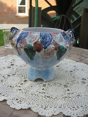 Pottery  Nice Vase Planter Italy Blue Green Brown Red 6''In
