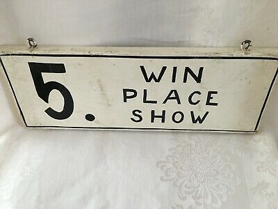Early Old Antique Horse Race Painted Wood Wooden Sign Win Place Show