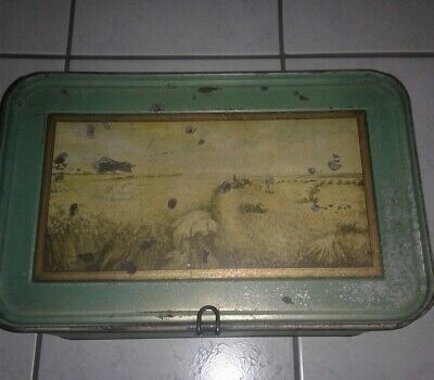 Tin BREAD BOX MOTHER EARTH Metal CONTAINER Lid Storage Retro Vintage