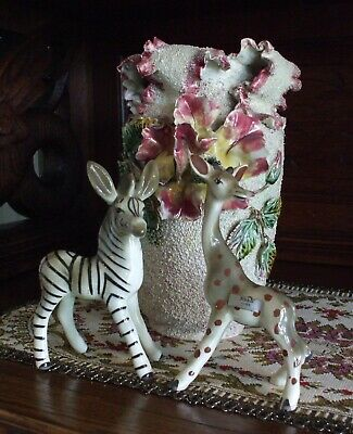 Vintage Ceramic Giraffe & Zebra Figurines Robert Simmons Ceramics California