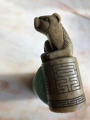 "Antique Carved Foo Dog Shoushan Stone Seal Stamp 3"" Tall 123g China Beast"