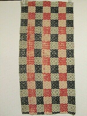 """Antique Woven Red Navy Natural Coverlet Piece 14.5 X  30"""" Table Runner or Crafts"""