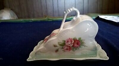Antique / Vintage Floral Patterned Covered Porcelain Butter / Cheese Dish