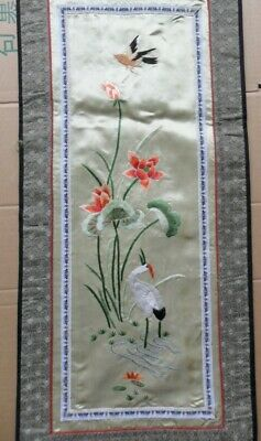 Chinese 100%Hand embroidered Peking Embroidery Art:flower&bird screen