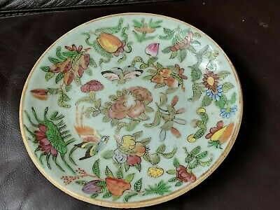 A Antique Chinese Rose Family - hand painted plate circa late 18/19th 18cm